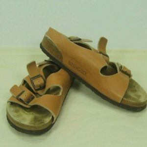 Birkenstock Milano Sandals Tan Leather Size 10